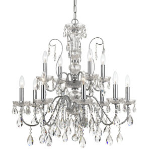Butler Polished Chrome 29-Inch 12-Light Swarovski Spectra Crystal Chandelier