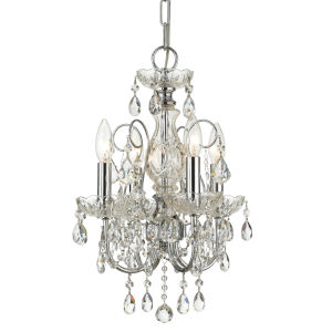 Imperial Polished Chrome Clear Majestic Crystal Four-Light Chandelier