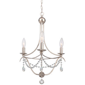 Metro Antique Silver Three-Light Mini Chandelier with Clear Hand Cut Crystal