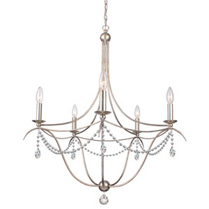 Metro Antique Silver Five-Light Chandelier with Clear Hand Cut Crystal