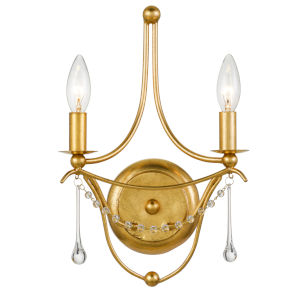 Metro Antique Gold Two-Light Sconce