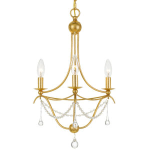 Metro Antique Gold Three-Light Mini Chandelier