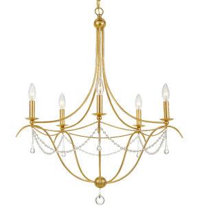 Metro Antique Gold Five-Light Chandelier