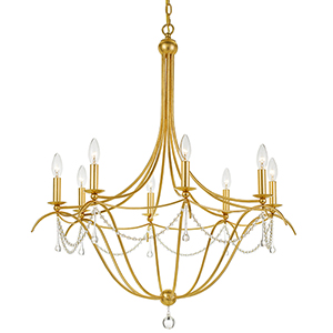 Metro Antique Gold Eight-Light Chandelier
