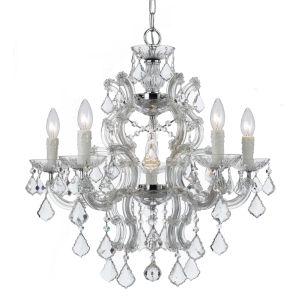 Maria Theresa Polished Chrome Six Light Hand Cut Crystal Chandelier