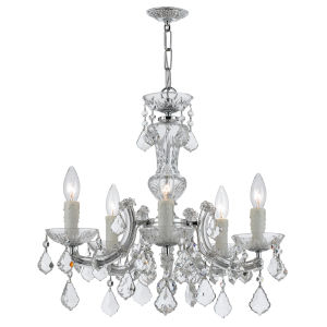 Maria Theresa Polished Chrome 19-Inch Five Light Hand Cut Crystal Mini-Chandelier