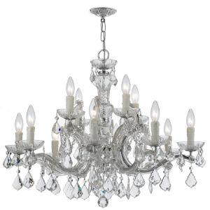 Maria Theresa Polished Chrome 12-Light Chandeliers