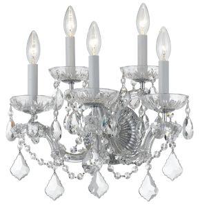 Maria Theresa Polished Chrome Five-Light Wall Sconce Draped In Swarovski Strass Crystal