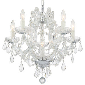 Traditional Crystal Polished Chrome Six-Light Chandelier with Swarovski Strass Crystal