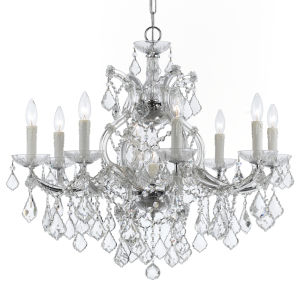 Maria Theresa Polished Chrome Nine-Light Chandelier with Clear Hand Cut Crystal