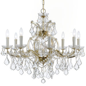 Maria Theresa Gold Nine-Light Chandelier with Clear Hand Cut Crystal