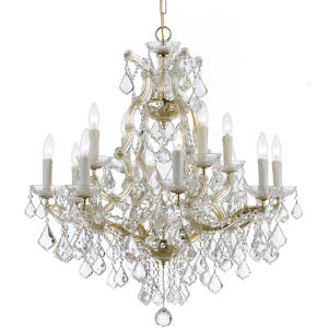 Maria Theresa Gold Thirteen Light Chandelier with Clear Italian Crystal