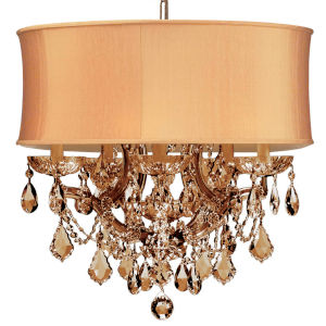 Brentwood Antique Brass Maria Theresa Chandelier with Golden Teak Swarovski Strass Crystal and Harvest Gold Shade