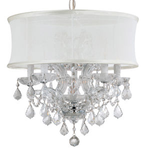 Brentwood Polished Chrome Six-Light Chandelier with Swarovski Spectra Crystal