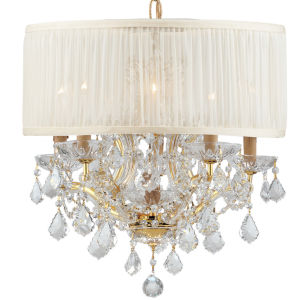 Brentwood Polished Gold Maria Theresa Chandelier with Clear Swarovski Spectra Crystal and with Antique White Shade.