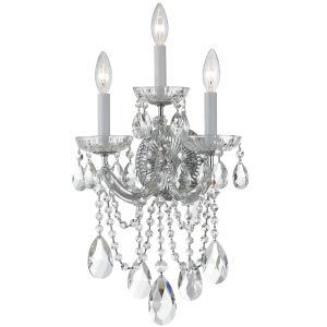 Maria Theresa Polished Chrome Three-Light Wall Sconce Draped In Swarovski Spectra Crystal