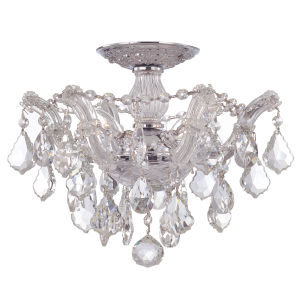 Maria Theresa Polished Chrome Three-Light Semi Flush Mount with Swarovski Elements Crystals
