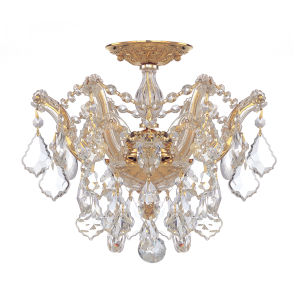 Maria Theresa Polished Gold Three-Light Semi Flush Mount with Hand Polished Crystals