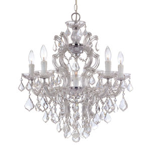 Maria Theresa Polished Chrome Five-Light Chandelier with Swarovski Spectra Crystals