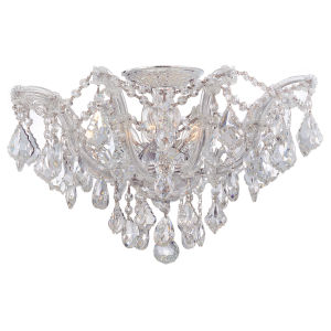 Maria Theresa Polished Chrome Five-Light Semi Flush Mount with Hand Polished Crystals