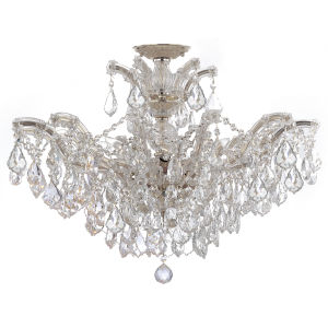 Maria Theresa Polished Chrome 20-Inch 12-Light Semi Flush Mount with Clear Crystal