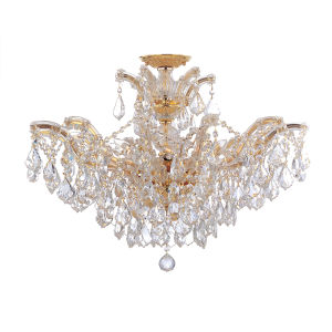 Maria Theresa Gold 20-Inch 12-Light Semi Flush Mount with Clear Crystal