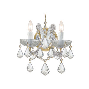 Maria Theresa Gold Two-Light Wall Mount Draped In Hand Cut Crystal