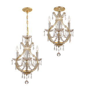 Maria Theresa Gold Three-Light Dual Mount Mini Chandelier with Italian Crystal