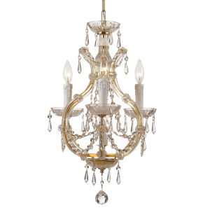 Maria Theresa Gold Three-Light Crystal Mini Chandelier