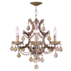 Maria Theresa Four-Light Chandelier with Golden Teak Swarovski Strass Crystal