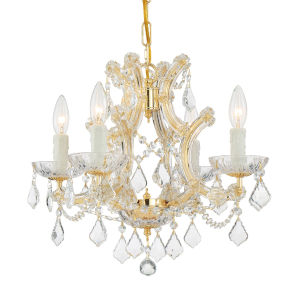 Maria Theresa Gold Four-Light Chandelier with Swarovski Spectra Crystal
