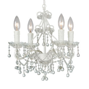 Paris Flea Market Wet White Four-Light Chandelier with Murano Crystal
