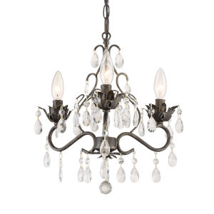Paris Market English Bronze 14-Inch Three-Light Clear Hand Cut Crystal Chandelier