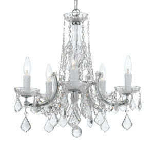 Polished Chrome 20-Inch Five-Light Chandelier