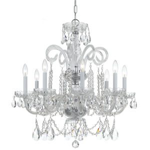 Traditional Crystal Swarovski Spectra Crystal Polished Chrome Eight-Light Chandelier