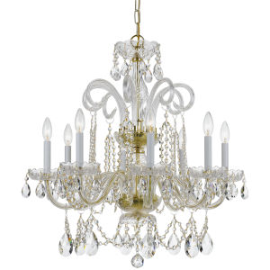 Traditional Polished Brass Eight-Light Clear Hand Cut Crystal Chandelier