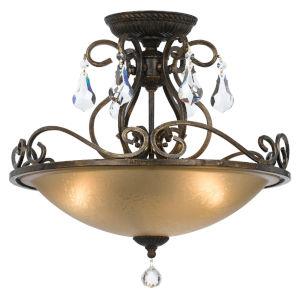 Ashton English Bronze Three Light Semi-Flush Mount with Hand Cut Crystal