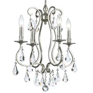 Ashton Old Silver Four-Light Chandelier with Hand Polished Crystal