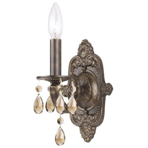 Paris Market 1 Light Golden Teak Swarovski Strass Crystal Bronze Sconce