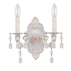 Hampton Antique White Ornate Two-Light Wall Sconce Draped with Clear Hand Cut Crystal