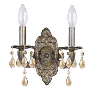 Sutton Venetian Bronze Ornate Wall Sconce Draped with Golden Teak Crystal
