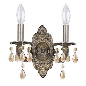 Paris Market 2 Light Golden Teak Swarovski Strass Crystal Bronze Sconce