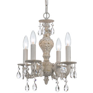 Hampton Antique White Ornate Mini Chandelier Draped with Clear Hand Cut Crystal