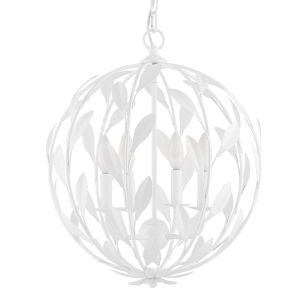 Broche Matte White 16-Inch Four-Light Chandelier
