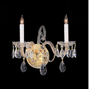 Traditional Crystal Swarovski Spectra Crystal Polished Brass Two-Light Sconce