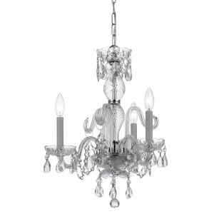 Traditional Crystal Polished Chrome Three-Light Mini Chandeliers