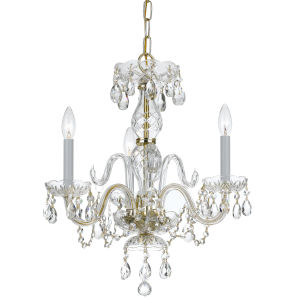 Traditional Crystal Swarovski Strass Crystal Polished Brass Three-Light Chandelier