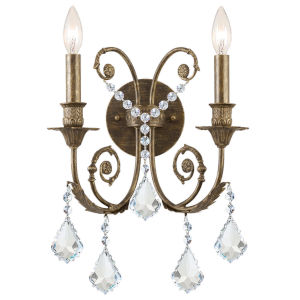 St. Regis Clear Swarovski Strass Crystal Two-Light Wall Sconce