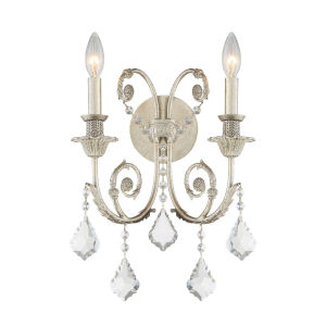 Regis Olde Silver Two-Light Wall Sconce with Swarovski Strass Crystal