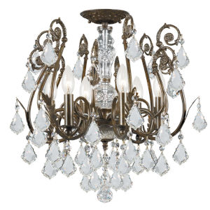 Regis English Bronze Clear Majestic Crystal Six-Light Semi-Flush